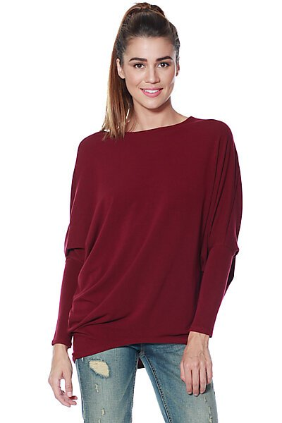French Terry Top w/ Dolman Sleeve & Fitted Hem-Burgundy