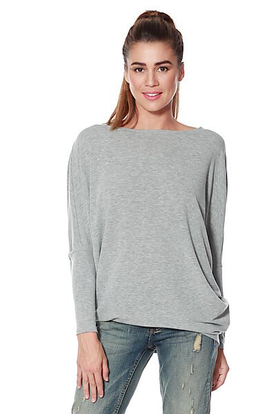French Terry Top w/ Dolman Sleeve & Fitted Hem-Heather Grey