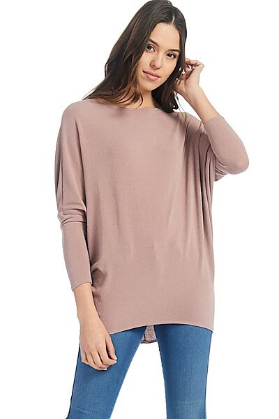 Casual Long Dolman Sleeve Pullover Loose Fit Blouse Top-Mauve
