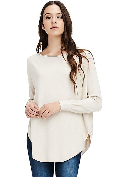 Oversized Raw Neck Pullover Sweater Top w/ Round Hem-Oatmeal