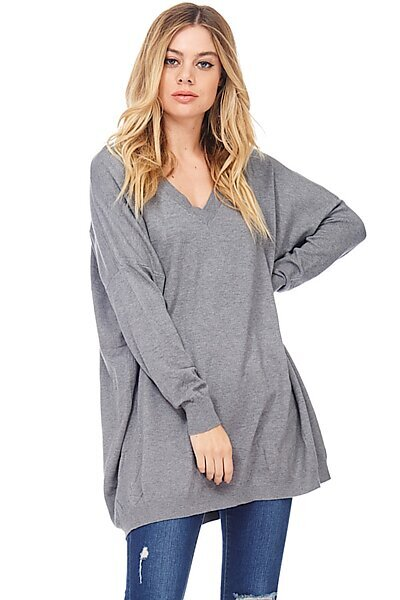 Oversized V-Neck Sweater Pullover Tunic-Charcoal