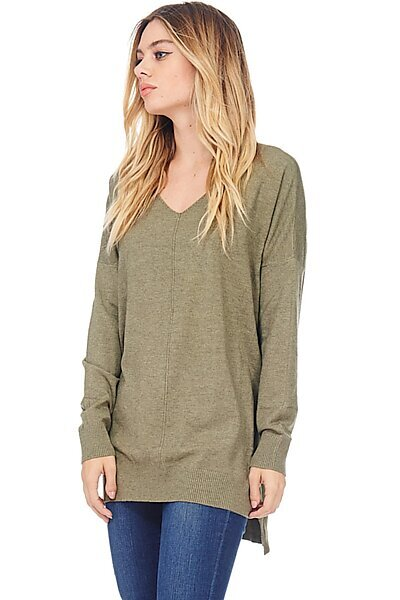 Oversized V-Neck Pullover Sweater Top W Slight Hi-Low-Olive