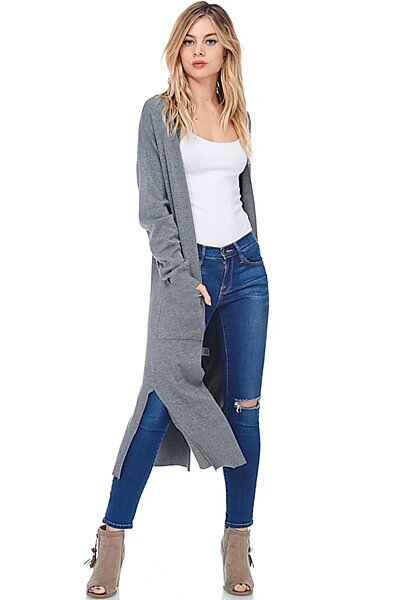 Casual Longline Knit Cardigan Sweater W Side Slits-Charcoal