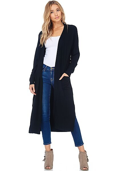 Casual Longline Knit Cardigan Sweater W Side Slits-Black