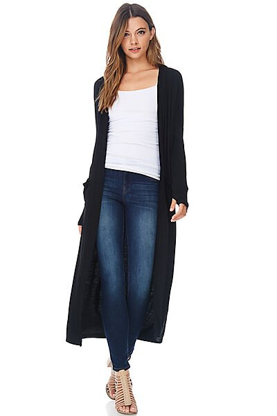 Casual Maxi Duster Cardigan Sweater W/ Pockets-Black