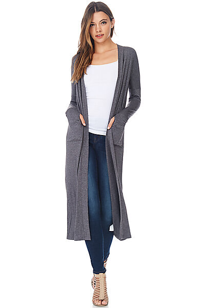 Casual Maxi Duster Cardigan Sweater W/ Pockets-Dark Heather Grey