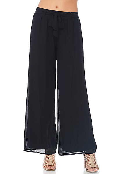 Casual Chiffon Wide Leg Palazzo Long Pant-Black