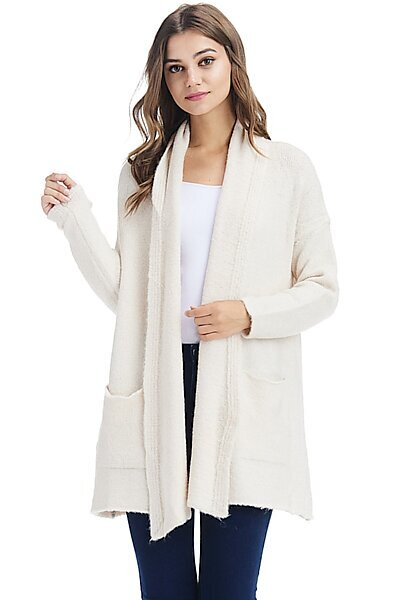 Casual Open Front Drape Shawl Knit Cardigan Sweater-Ivory