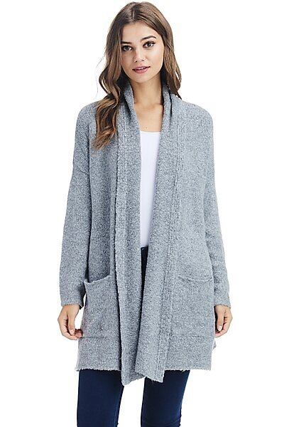 Casual Open Front Drape Shawl Knit Cardigan Sweater-Charcoal