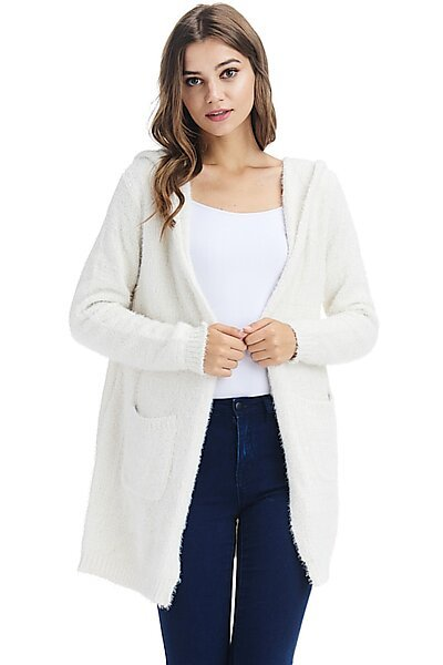 Casual Open Eyelash Knit Hoodie Cardigan Sweater-Ivory