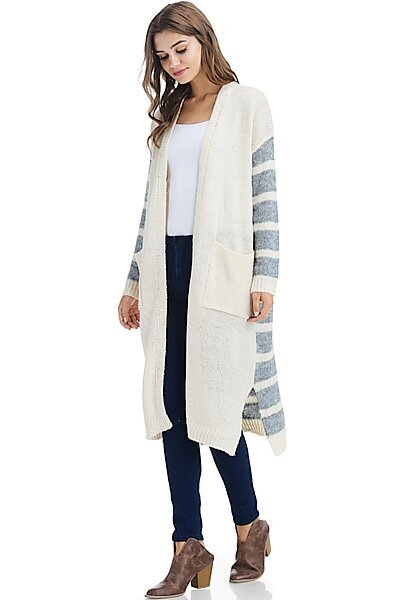 Casual Open Contrast Knit Cardigan Duster Sweater-Ivory Grey