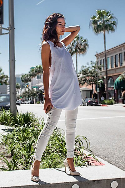 Casual Slub Burnout Tunic Tank Top w One Side Ruched-White