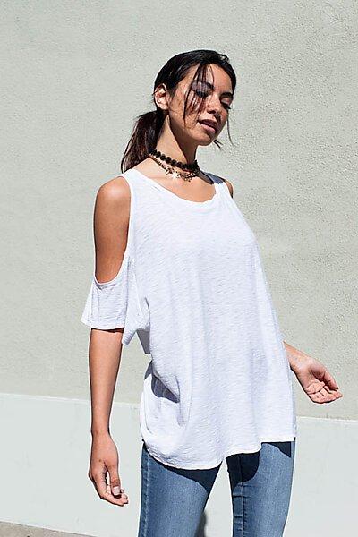 Casual Slub Burnout Loose Cold Shoulder T-Shirt Top-White