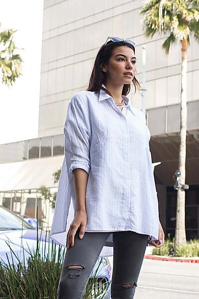Striped Oversized Buttoned Blouse Shirt Top-Light Blue/White