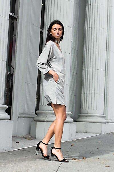 Casual French Terry V-Neck Tunic Dress W/ Pockets-Heather Grey