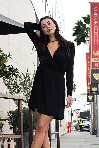 Casual Wrap Half Slv Black Tunic Dress w/Cinch Waist-Black
