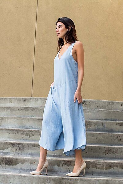 Tencel Denim V-Neck Wide Leg Capri Romper Jumpsuit-Light Denim