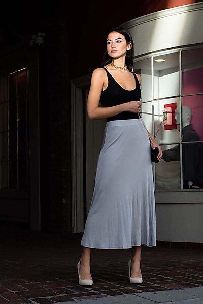 Casual A Line Elastic Midi Skirt w/Elastic Waist Band-Grey