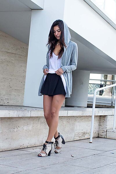 French Terry Open Front Hoodie Cardigan Jacket Top-Heather Grey