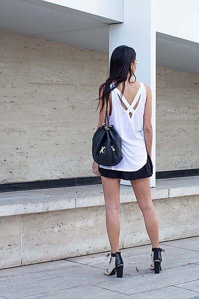 Casual Slub Knit V-neck Tank w/ Strap Shirt Top-White