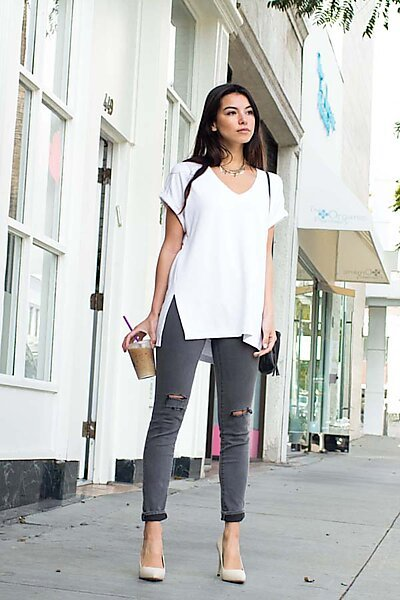 Loose French Terry V-Neck Top W/ Cuff Slv/Side Slits-White