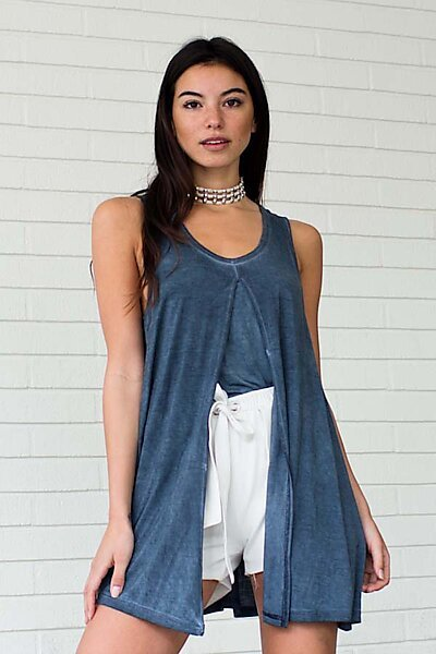 Premium Bamboo Tunic Top w/ Cropped Under Tank-Washed Navy
