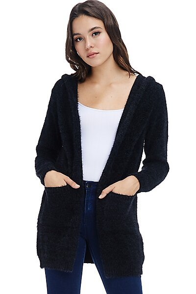 Casual Open Eyelash Knit Hoodie Cardigan Sweater-Black
