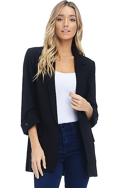 Open Front Blazer Jacket - 3/4 Sleeve Woven Suit Pocket-Black