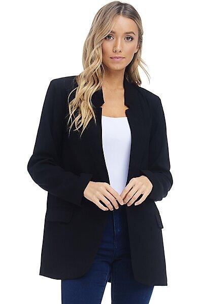 Woven Blazer Office Jacket - Suit Button Front Pockets-Black