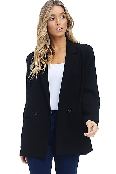 Loose Blazer Jacket Suit - Double Button Woven Welt Pocket-Black