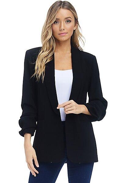 Open Front Blazer Jacket - Ruching 3/4 Sleeve Welt Pocket-Black