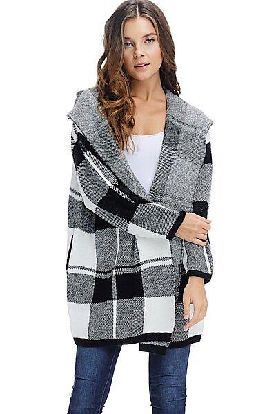 Oversized Open Front Plaid Hooded Winter Jacket-Black/White