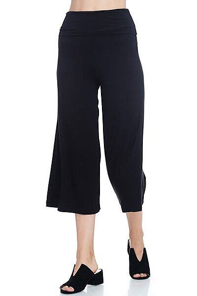 Casual Wide Leg Jersey Capri Pants with Foldable Waist-Black