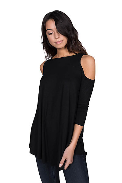 Soft Jersey 3/4 Sleeves Crewneck Top w/ Cold Shoulders-Black