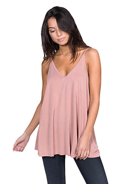 Casual Cupro V-Neck Flowy Cami Strap Tank Top-Mauve