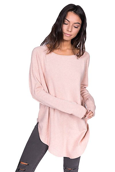 Oversized Raw Neck Pullover Sweater Top w/ Round Hem-Pink