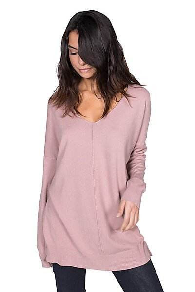 Oversized V-Neck Pullover Sweater Top W/ Slight Hi-Low-Mauve
