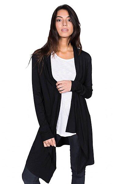 Open Front Jersey Cardigan W/ Uneven Hem-Black