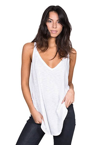 Casual Slub Knit V-neck Tank w/ Strap Shirt Top-White