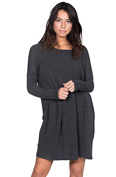 Oversized Soft Baby French Terry Knit Tunic-Charcoal