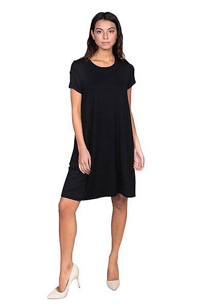 Short Sleeve Knit Dress w/ Side Pockets-Black