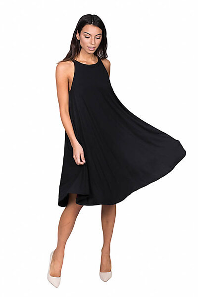 Sleeveless Halter Trapeze Dress w/ Raw Hemline-Black