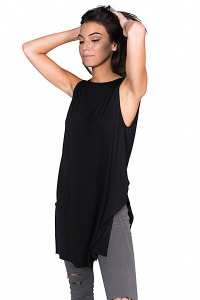 Loose Fitted Long Jersey Tank Top With Side Slits-Black