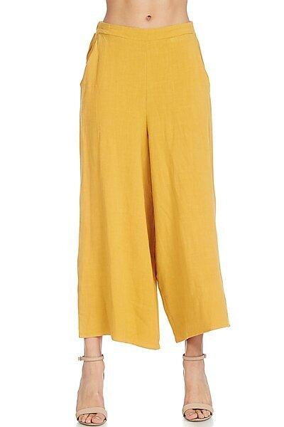 Casual Elastic Waist Band Wide Leg Crop Linen Pant-Mustard
