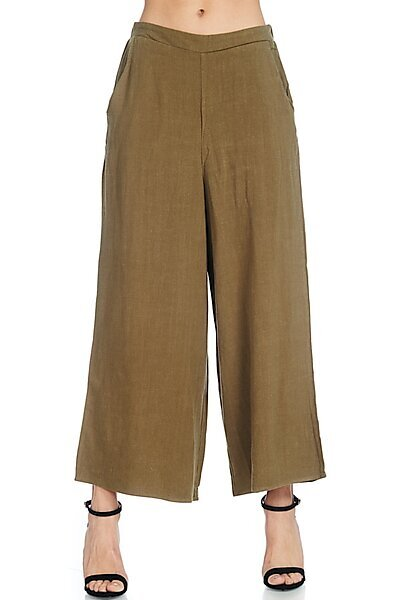 Casual Elastic Waist Band Wide Leg Crop Linen Pant-Olive