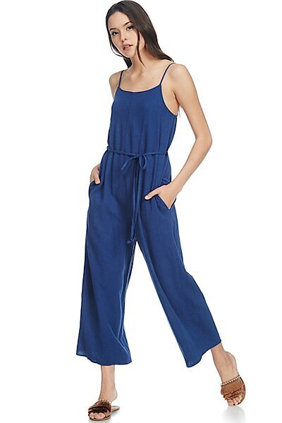 Casual Linen Spaghetti Strap Sexy Jumpsuit Rompers-Navy
