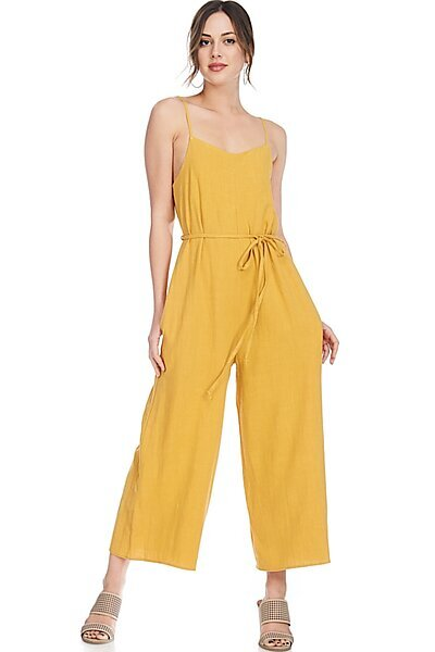 Casual Linen Spaghetti Strap Sexy Jumpsuit Rompers-Mustard