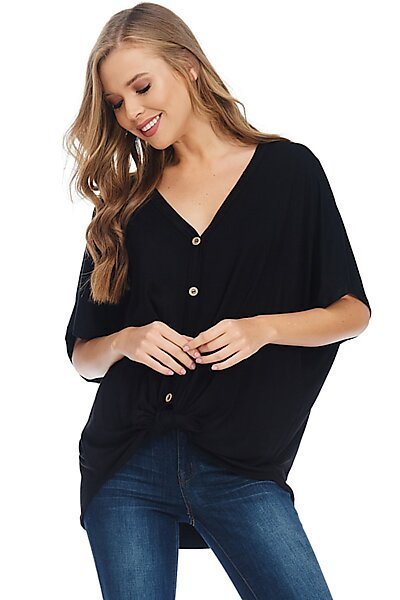 Casual Short Sleeve Tie Button Down Jersey Blouse Top-Black