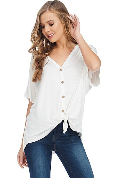 Casual Short Sleeve Tie Button Down Jersey Blouse Top-Ivory