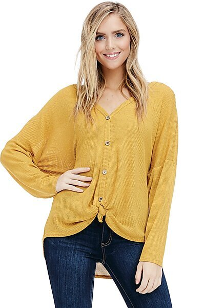 Button Tie Front Top - Long Sleeve Waffle Knit Blouse-Mustard